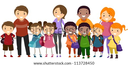 Illustration of School Kids Neatly Lined Up in One Row Together with Their Parents - stock vector