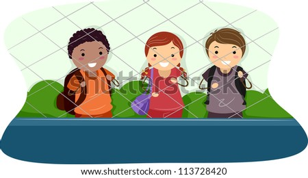 Illustration of School Kids Standing on One Side of a Cyclone Fence