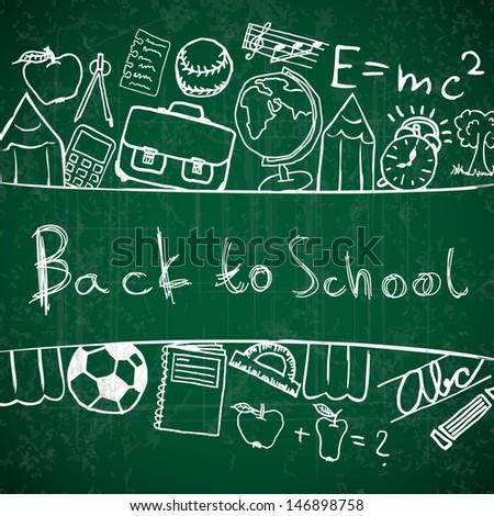 Illustration of school symbols forming background - stock vector