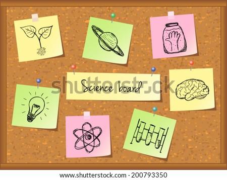 Illustration of scientific stuff on cork board. Hand drawn style. - stock vector