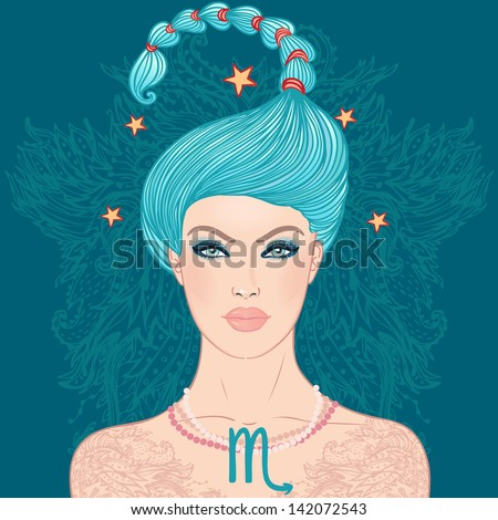 Illustration of Scorpio zodiac sign as a beautiful girl. Vector illustration.