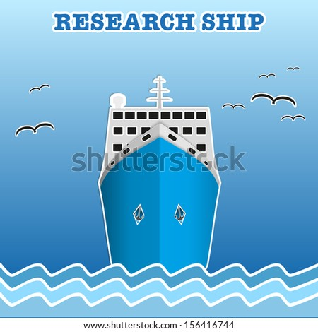 Illustration of sea cruise passenger liner. Background of trendy style with paper applications is and origami. Vector, editable and isolated. - stock vector