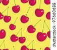 Illustration of seamless cherry background. - stock