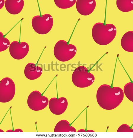 Illustration of seamless cherry background. - stock vector