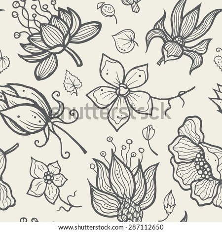 Illustration of seamless hand-drawn floral vector pattern for your design