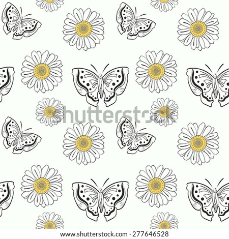 Illustration of seamless pattern with doodle butterflies and daisy on white background - stock vector