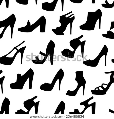 Illustration of seamless pattern with female shoes isolated