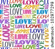 Illustration of seamless  pattern with  words LOVE - stock vector