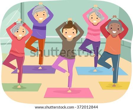 Illustration of Senior Citizens Enjoying their Yoga Indoor Activity - stock vector