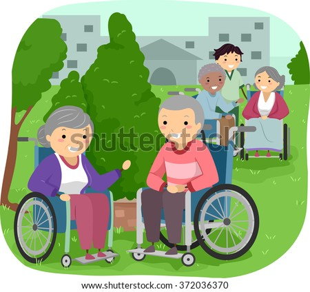 Illustration of Senior Citizens outside their room with a Caregiver - stock vector
