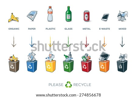 Illustration of separation recycling bins with organic, paper, plastic, glass, metal, e-waste and mixed waste. Waste segregation management concept.