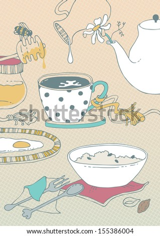 Illustration of served food for breakfast - stock vector