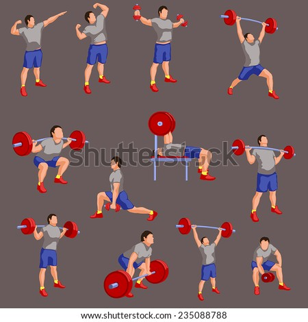 illustration of set bodybuilders in color - stock vector