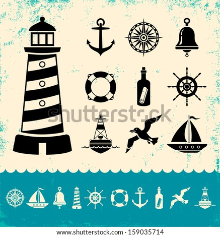 Illustration of set marine icons - stock vector