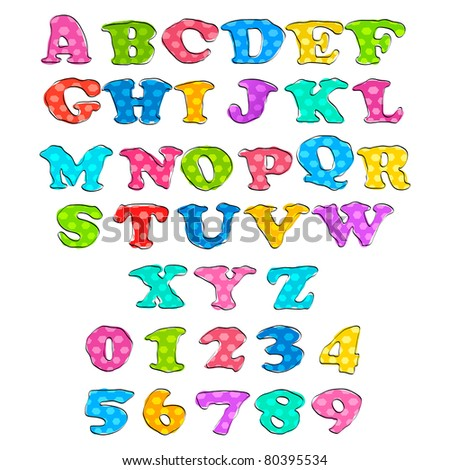 illustration of set of alphabet and number in sketchy style - stock vector