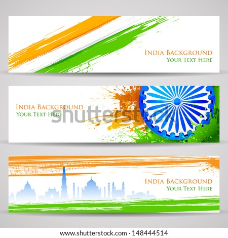 illustration of set of banner and header for colorful India - stock vector