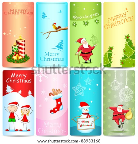 illustration of set of christmas template with different element
