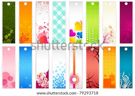 illustration of set of colorful floral bookmark - stock vector