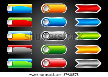 illustration of set of colorful glossy button on dark background