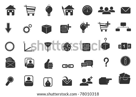 illustration of set of computer application icon for web - stock vector