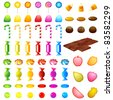 illustration of set of different colorful candies on isolated background - stock