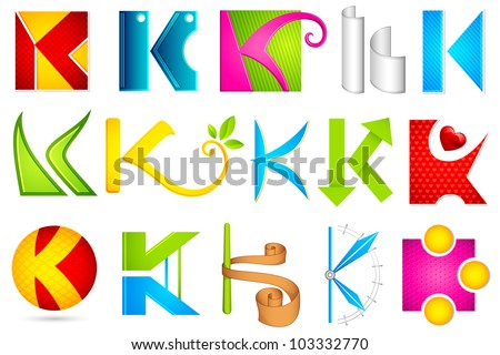 illustration of set of different colorful logo icon for alphabet K