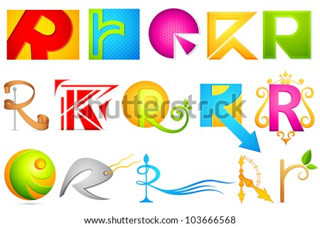 illustration of set of different colorful logo icon for alphabet R