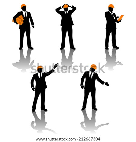 illustration of set of different poses for engineer - stock vector
