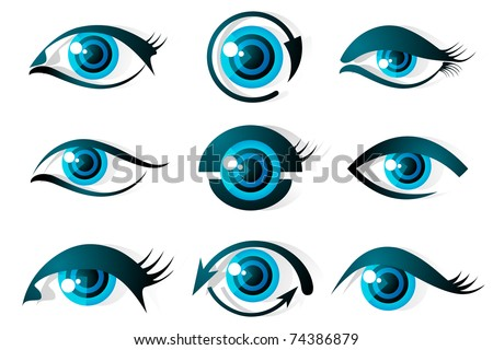 illustration of set of different shape of eye on isolated background - stock vector