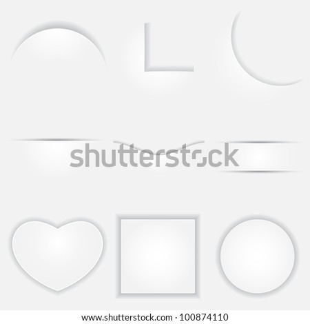 illustration of set of different shape paper cut with shadow - stock vector