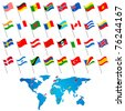 illustration of set of flag of different countries with world map - stock vector