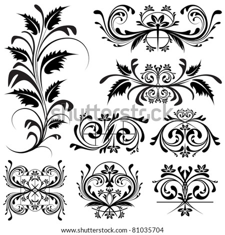 illustration of set of floral design element - stock vector