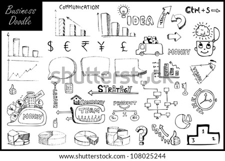illustration of set of hand drawn business element - stock vector