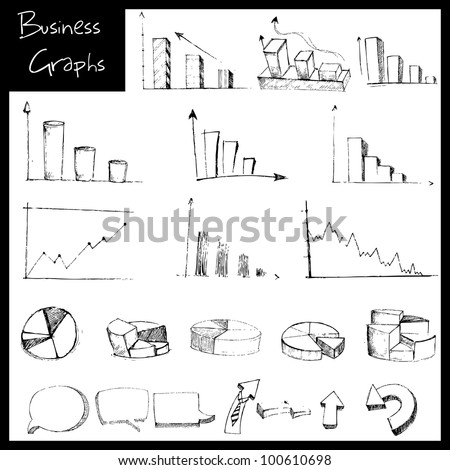 illustration of set of hand drawn sketch of business graph - stock vector