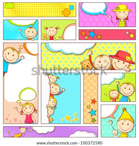 illustration of set of kids banner in different size and layout - stock vector