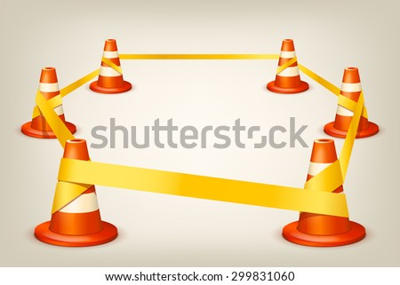 illustration of set of orange white cones with yellow ribbon - stock vector