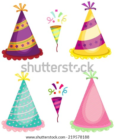 illustration of set of party horn blower and colorful hats - stock vector