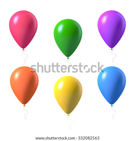 Illustration of Set of Photorealistic Vector Air Balloons Isolated on White Background
