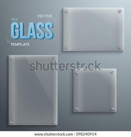 Illustration of Set of Realistic Vector Glass Plate Template Icons. EPS10 Vector Plastic Plate Banner Set