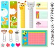 illustration of set of school stationery in animal theme - stock vector