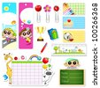 illustration of set of school stationery with different element - stock photo