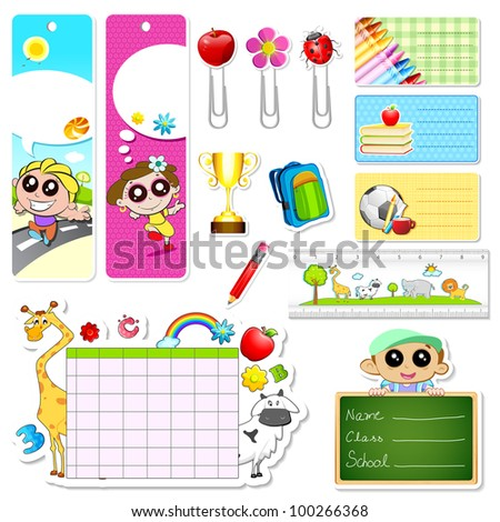 illustration of set of school stationery with different element - stock vector