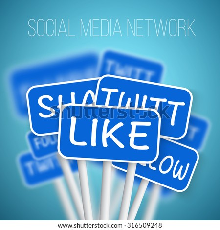 Illustration of Set of Social Media Network Road Signs. include Like Share, Follow. For your Social Media Banner, Icon, Blog or Social Media Advertising. - stock vector
