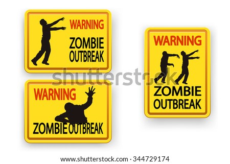 illustration of set of three different signs with zombie warning on white with shadow - stock vector