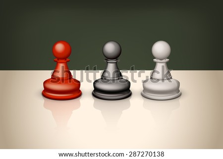 illustration of set of three pawns with reflection - stock vector