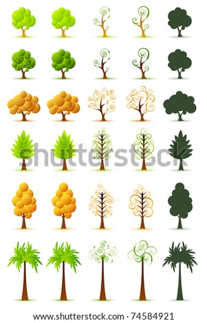illustration of set of tree on isolated white background - stock vector