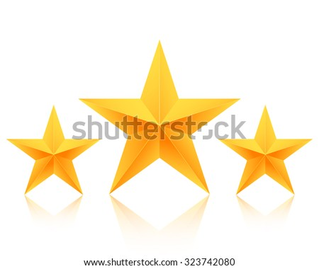Illustration of Set of Vector Gold Stars Icon. Best Rating Gold Star Template - stock vector