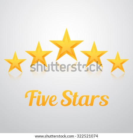 Illustration of Set of Vector Gold Stars Icon. Five Stars Icon Template. Best Rating Gold Star Icon - stock vector