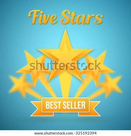 Illustration of Set of Vector Gold Stars Icon. Five Stars Icon Template. Best Seller Gold Star Icon - stock vector