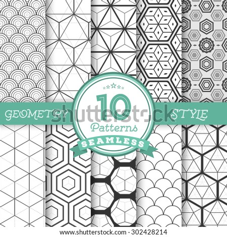 Illustration of Set of 10 Vector Seamless Geometric Lines Pattern Backgrounds for Web, Presentations, Texture. You can find fully worked patterns in swatches library - stock vector